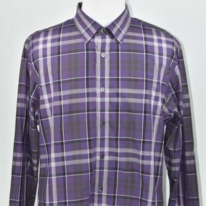 Michael Kors Mens Purple Plaid Long Sleeve XXL LSS